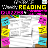 6th Grade Reading Comprehension Quizzes & Constructed Response Practice