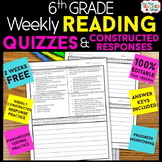 6th Grade Reading Comprehension Quizzes & Constructed Response Practice | FREE