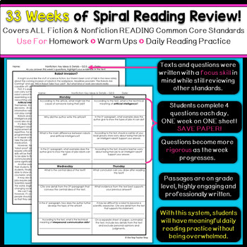 6th Grade Reading Homework | Reading Comprehension Passages & Questions BUNDLE
