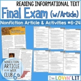 6th Grade Reading Informational Text FINAL EXAM | Article #6-24 Save the Bees