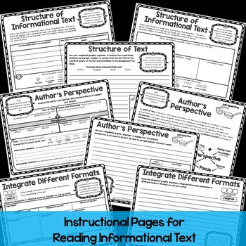 6th Grade Reading Informational Text Graphic Organizers for Common Core