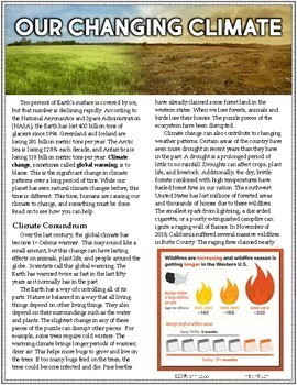 6th Grade Reading Informational Text MIDTERM EXAM | Article #6-13 Climate Change