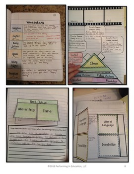 Reading Interactive Notebook with Mini Lessons - 6th Literature Standards