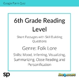 6th Grade Reading Level: Short Passages with Skill Buildin