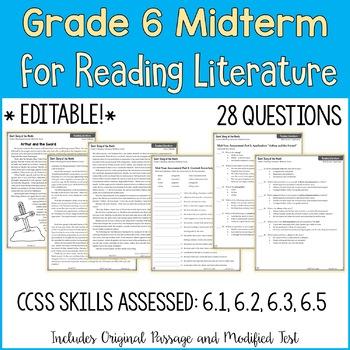 6th Grade Reading Midterm Exam | Reading Literature Midterm for Grade 6