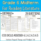 6th Grade Reading Midterm Exam | Reading Literature Midter