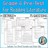 6th Grade Reading Pre-Test | Reading Literature Pre-Assessment for Grade 6