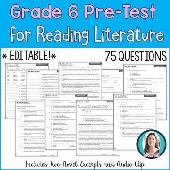 6th Grade Reading Pre-Test | Reading Literature Pre-Assessment for Grade 6