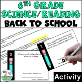 6th Grade Reading/Science First Day of School Activity