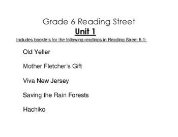 6th Grade Reading Street Activity Pack - Unit 1