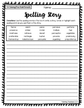 6th Grade Reading Street Spelling - Writing Activity UNITS 1-6