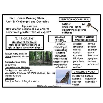 6th Grade Reading Street Unit 3 (common core edition)