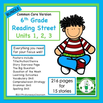 6th Grade Reading Street Units 1, 2, 3  Bundled (common core edition)