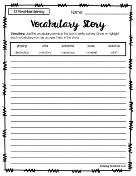 6th Grade Reading Street Vocabulary - Writing Activity UNITS 1-6