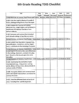 6th Grade Reading TEKS Checklist