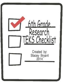 6th Grade Research TEKS Checklist