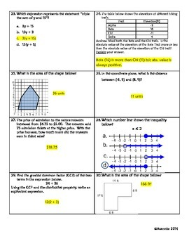6th Grade Review 7: 6.RP.1; 6.NS.3,4,7,& 8; 6.EE.2&8; 6.G.1; 6.SP.5