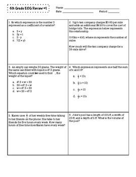 6th Grade Review Assignments #1 & #2