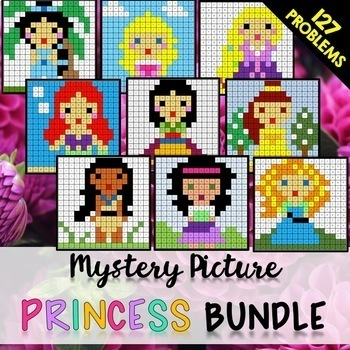 End of Year 6th Grade Review: Solve + Color Mystery Pictures (Princesses)