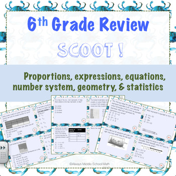 6th Grade Review Task Cards (Scoot!)