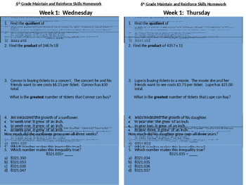 6th Grade SBAC Modeled Weekly Questions Wk 2