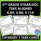 6th Grade STAAR/EOC Task Cards for Category 3 (6.4H, 6.8D, 6.11A)