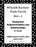 6th Grade STAAR Math Task Cards-Set 1-Numerical Representations and Relationship