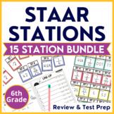 6th Grade Math STAAR Stations Bundle TEKS & STAAR Practice
