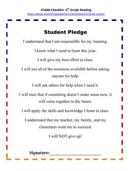 6th Grade STAAR Reading Checklist