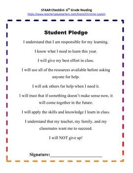 6th Grade STAAR Reading Checklist