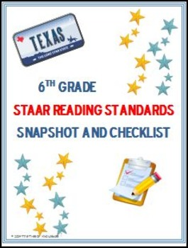 6th Grade STAAR Reading Standards: Snapshot and Checklist