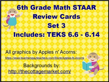 6th Grade Math STAAR Review Scoot Cards Set 3
