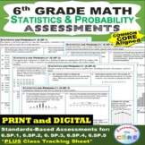 6th Grade STATISTICS & PROBABILITY Assessments (6.SP) Common Core