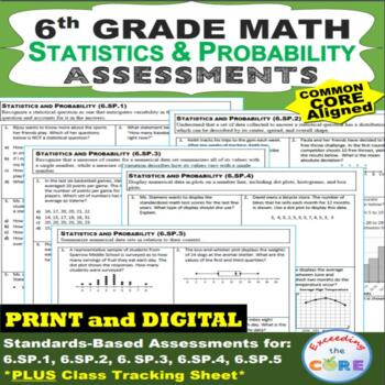 6th Grade STATISTICS & PROBABILITY Assessments (6.SP) Common Core