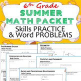 6th Grade SUMMER/ June - July MATH PACKET - { COMMON CORE Assessment}