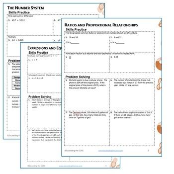 6th Grade SUMMER/ June - July MATH PACKET - { COMMON CORE Assessment}