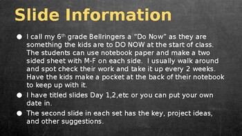 6th Grade Science Bellringer (Do Now) Semester 1