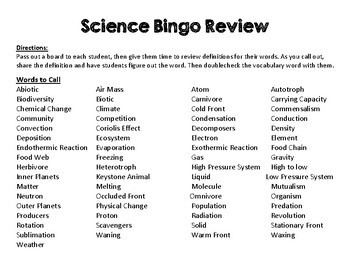 6th Grade Science Bingo Review