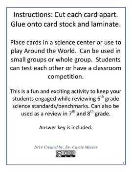 6th Grade Science End of Year Task Cards