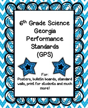 6th Grade Science Georgia Performance Standards Posters -Blue