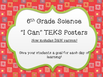 "6th Grade Science ""I Can"" TEKS Posters ~ Color and B&W Versions"