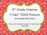 """Streamlined - 6th Grade Science """"I Can"""" TEKS Posters ~ Col"""