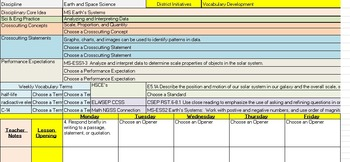 6th Grade Science Lesson Plan Template with NGSS, CCSS, an