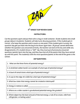 6th Grade Science TCAP Review Zap Game