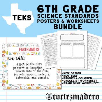6th Grade Science TEKS I Can Posters