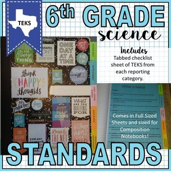 6th Grade Science TEKS I Can Posters and Standards Checklist