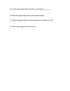 6th Grade Science Test: Biomes and Water Ecosystems