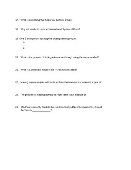 6th Grade Science Test Chapter One: Inquiry, Technology, and Engineering