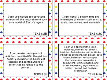 6th Grade Science (Updated) TEKS I Can Statements Rainbow Dots