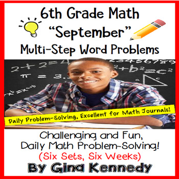 6th Grade September Daily Problem Solving: Math Challenge Problems (Multi-Step)